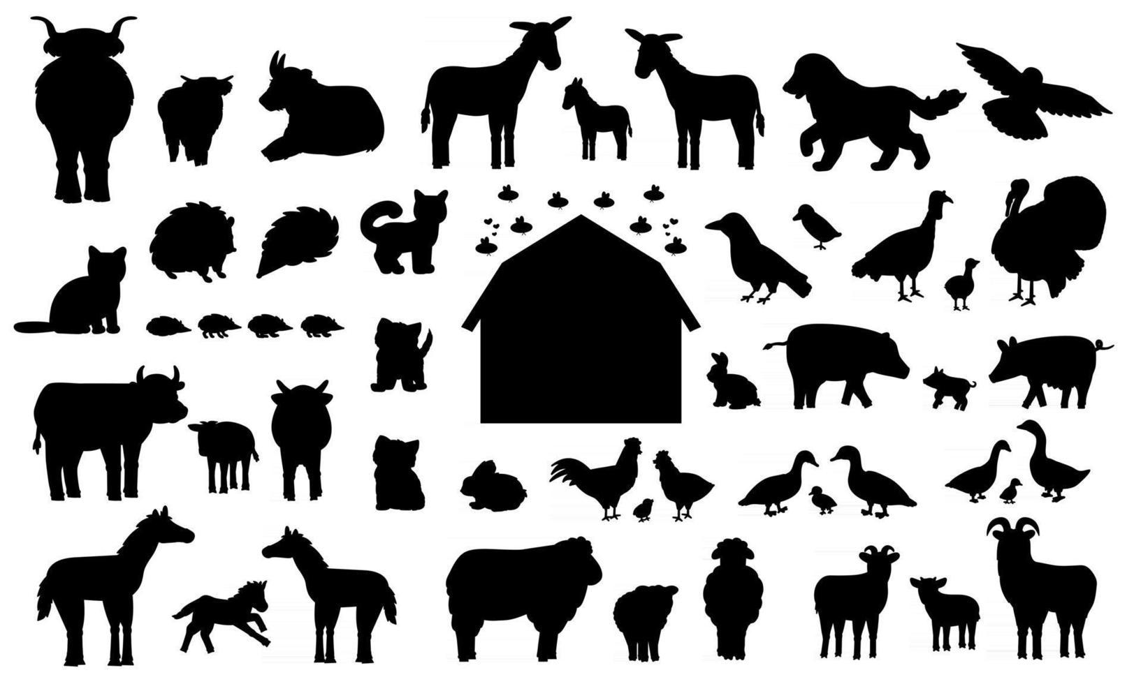 Set of silhouette cartoon farm animals. Vector collection of wooden barn, donkey goose cow bull pig hog chicken hen rooster goat sheep duck horse turkey cat dog hedgehog rabbit bunny birds