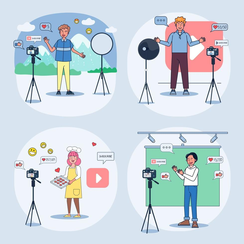 Blogger Review Concept Vetor. Creative famous influencer shooting vlogging occupation. Video training, travel steaming, coaching, cooking. vector