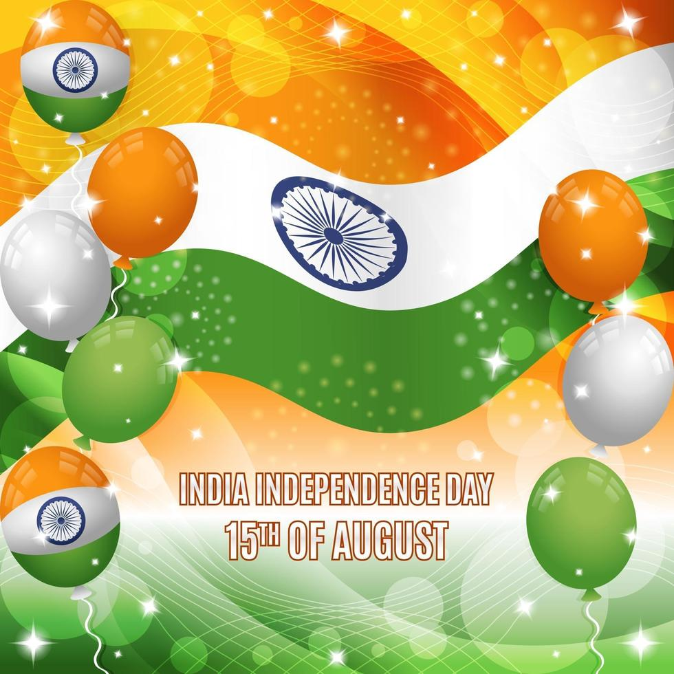 India Independence Day Background with Flag and Balloons Composition vector