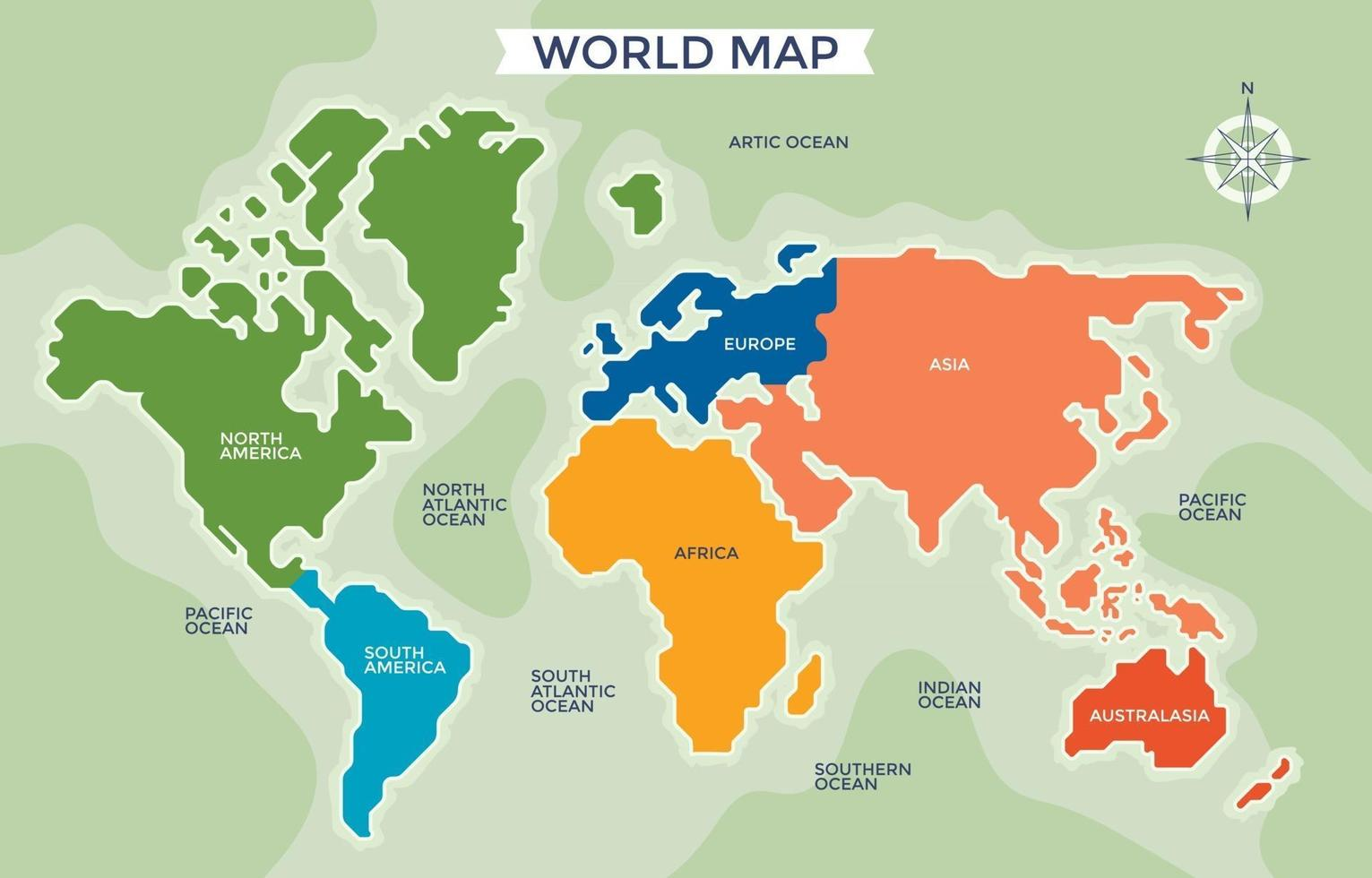 Simplified World Map Divided Six Continents vector