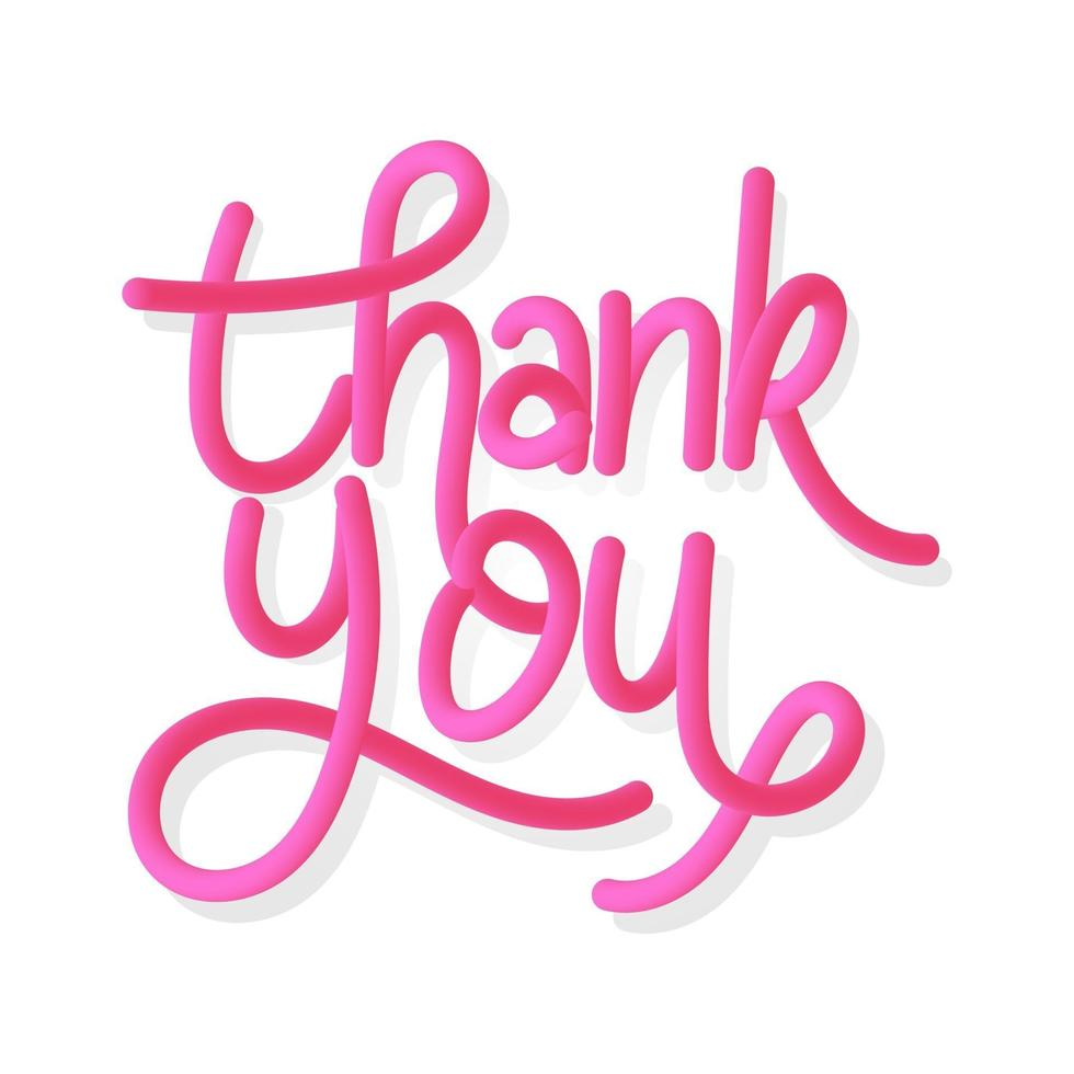 Thankyou gradient handlettering, 3d handlettering thankyou vector