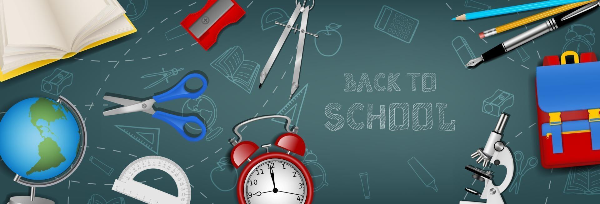 Back to school banner with realistic school supplies on chalkboard background vector