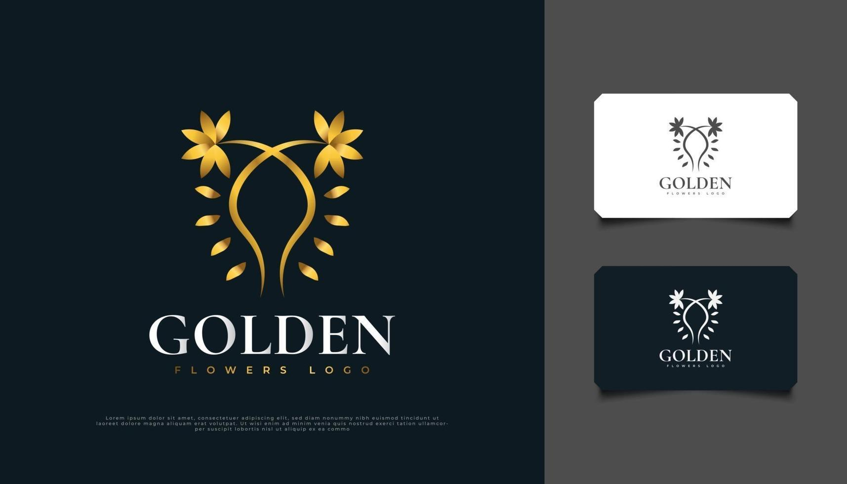 Luxury Golden Flowers Logo Design with Line Style, Suitable for Spa, Beauty, Florists, Resort, or Cosmetic Product vector