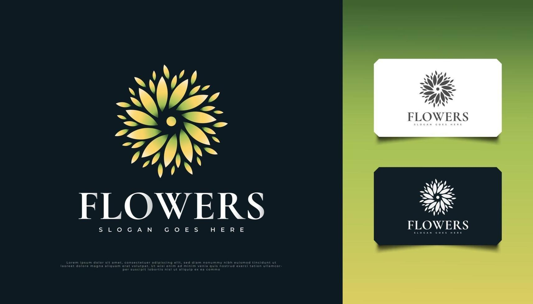 Beautiful Flower Logo Design in Green and Yellow, Suitable for Spa, Beauty, Florists, Resort, or Cosmetic Product Identity vector