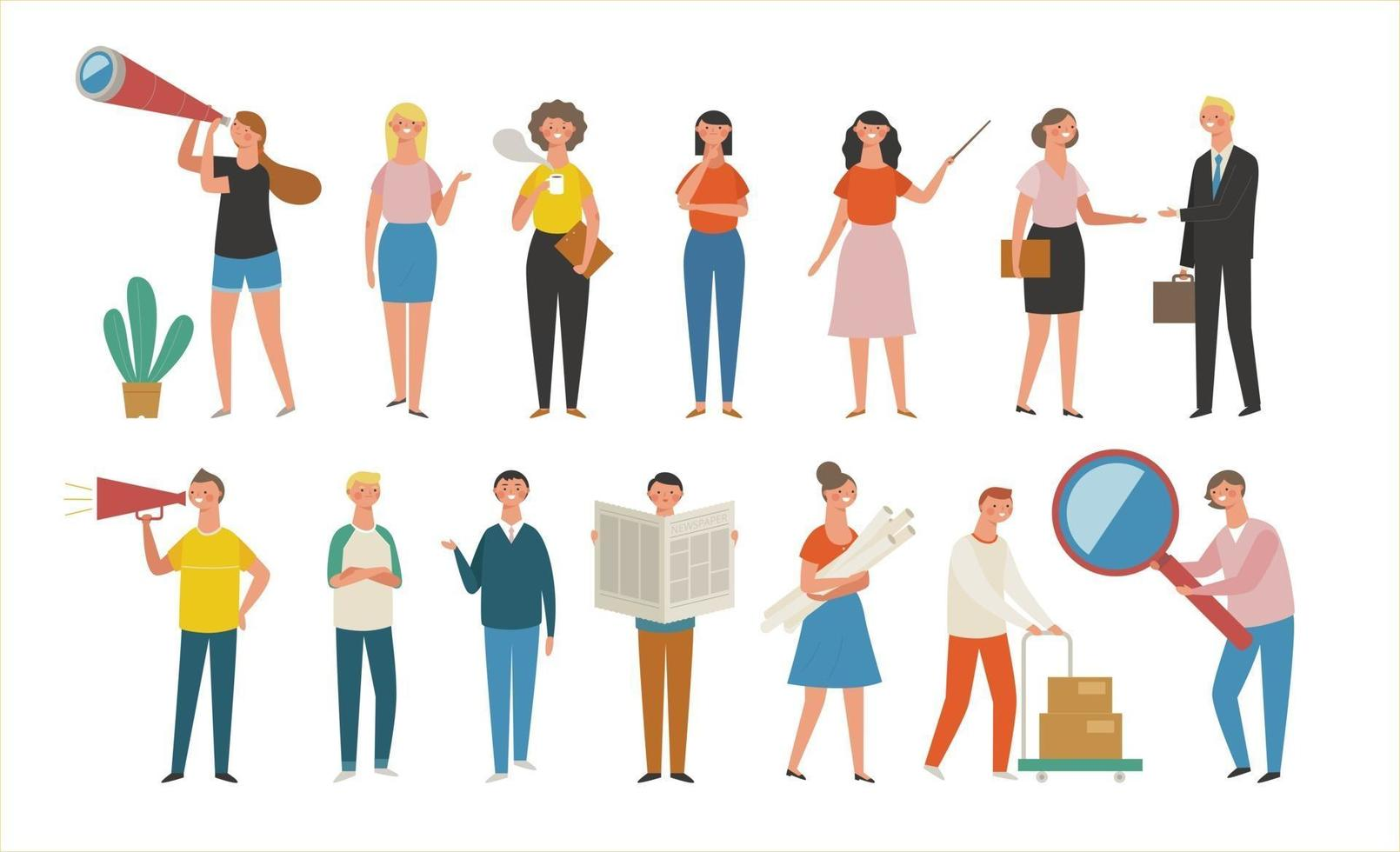 People standing with different gestures. vector