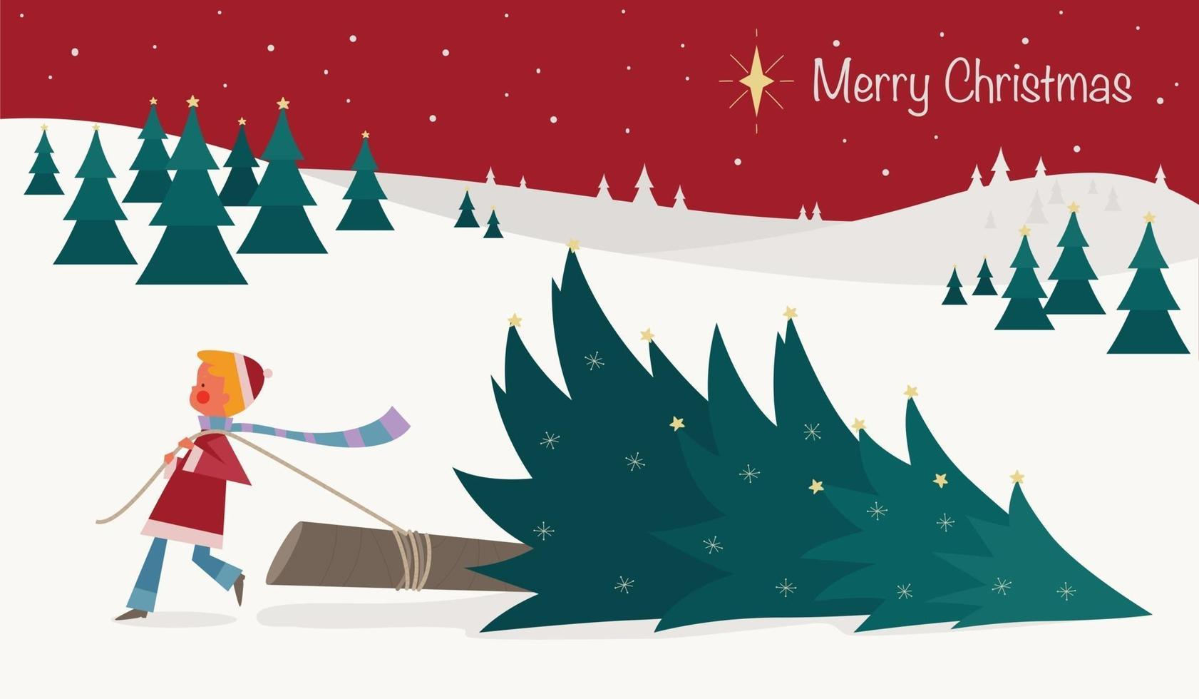 A boy is pulling down a Christmas tree on a snowy day. vector