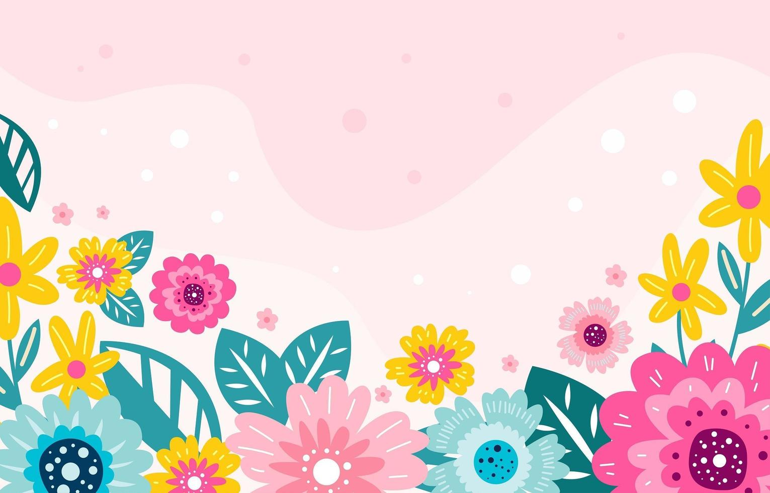 Blooming Flower Colorful Doodle Background vector