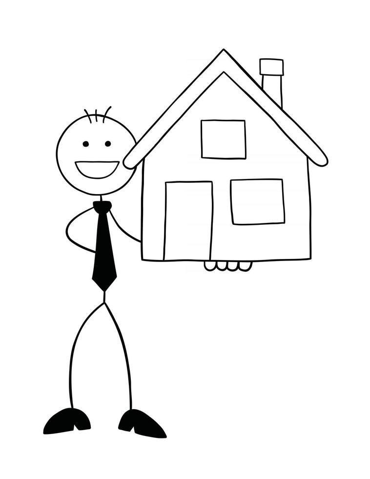 Stickman Businessman Character Happy and Holding the House Vector Cartoon Illustration