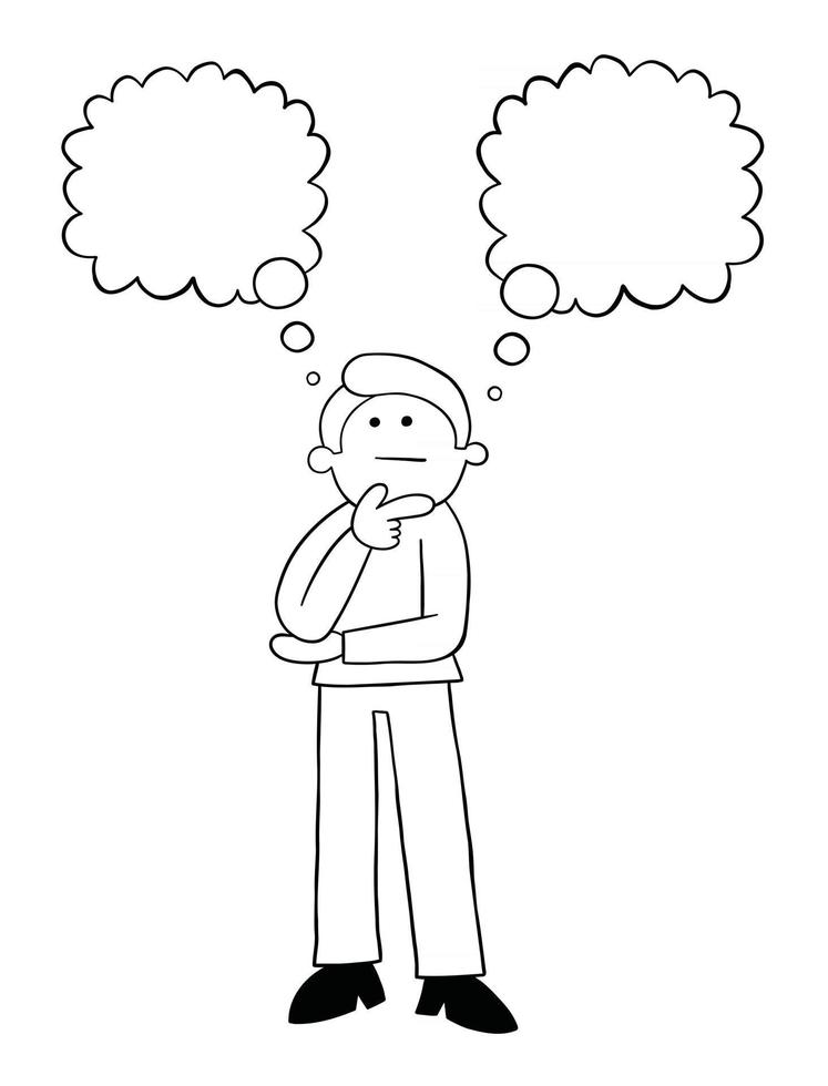 Cartoon Man has Two Different Opinions Vector Illustration