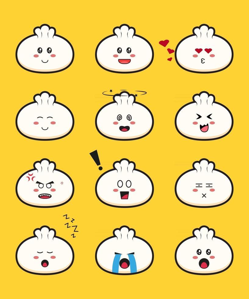 Set of cute dimsum cartoon vector icon illustration