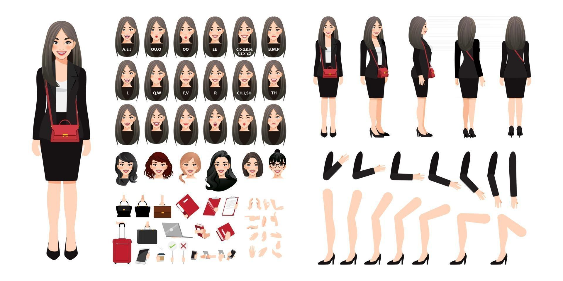 Businesswoman cartoon character creation set with various views, hairstyles, face emotions, lip sync and poses. Parts of body template for design work and animation. 025 vector