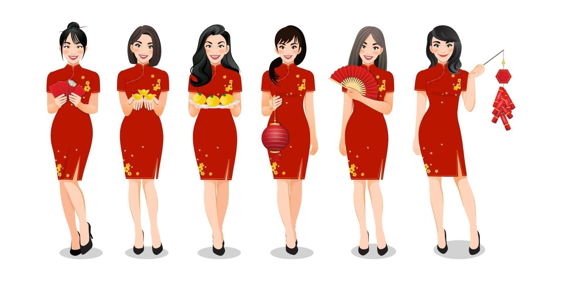 Chinese women's group holding Chinese new year elements in traditional style clothes set and different gestures isolated vector illustration