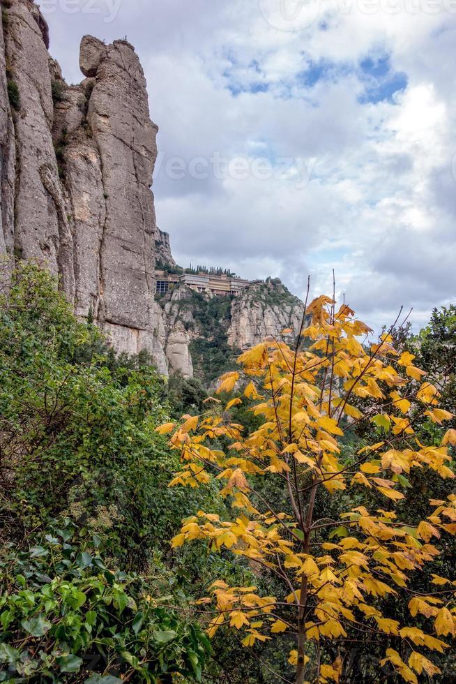 Mountain landscape at the Santa Maria de Montserrat monastery. Spain. photo