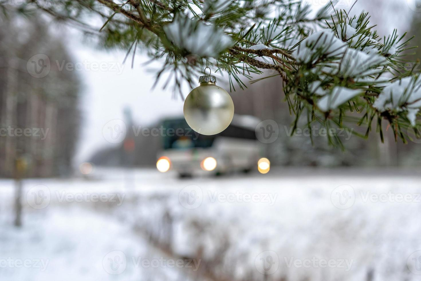 Golden Christmas Ball on the snow covered Fir Branch  next to the highway. photo