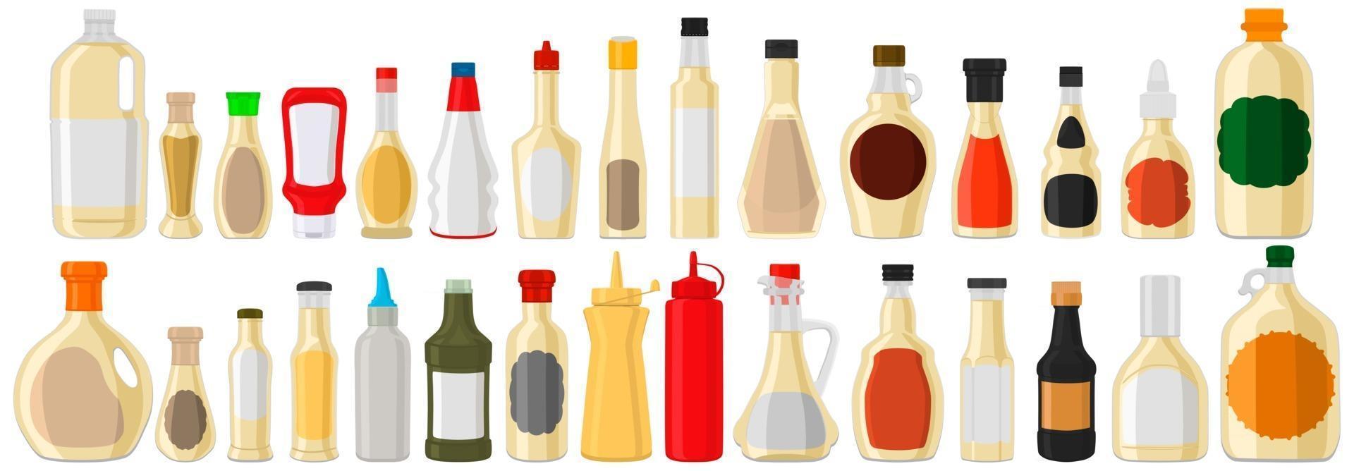 Illustration on theme big kit varied glass bottles filled liquid sauce tartar vector