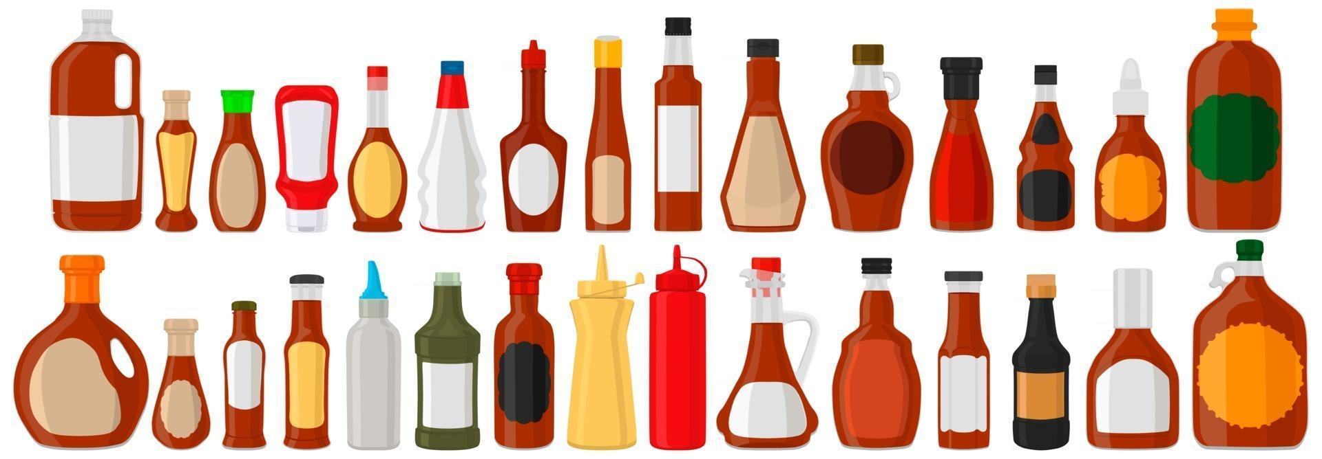 Illustration on theme kit varied glass bottles filled liquid sauce maple syrup vector