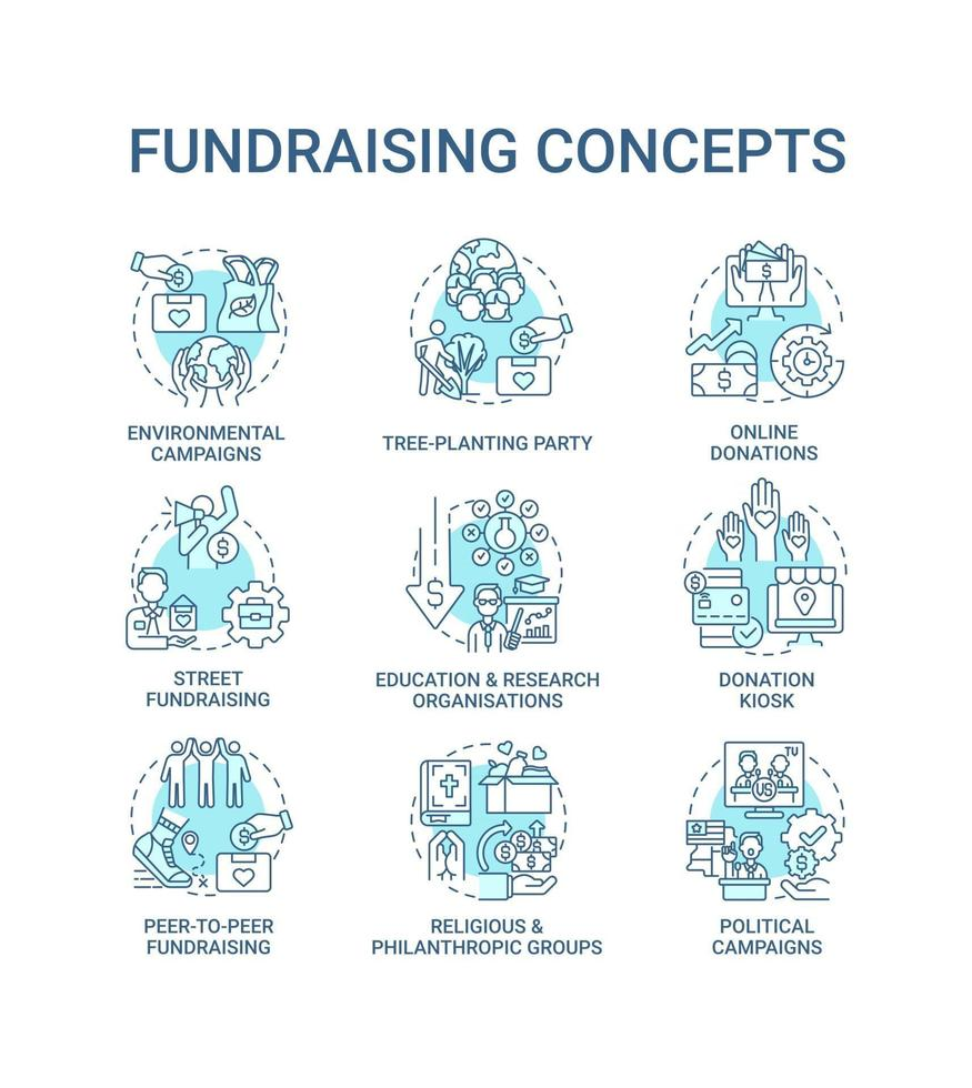Fundraising concept icons set. Gathering financial support idea thin line color illustrations. Religious, philanthropic groups. Online donations. Vector isolated outline drawings. Editable stroke