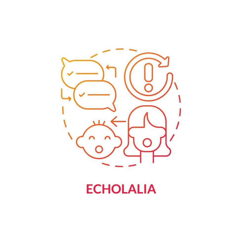 Echolalia concept icon. Autism sign abstract idea thin line illustration. Problem with communicative function. Repeat others words. Poor language understanding. Vector isolated outline color drawing