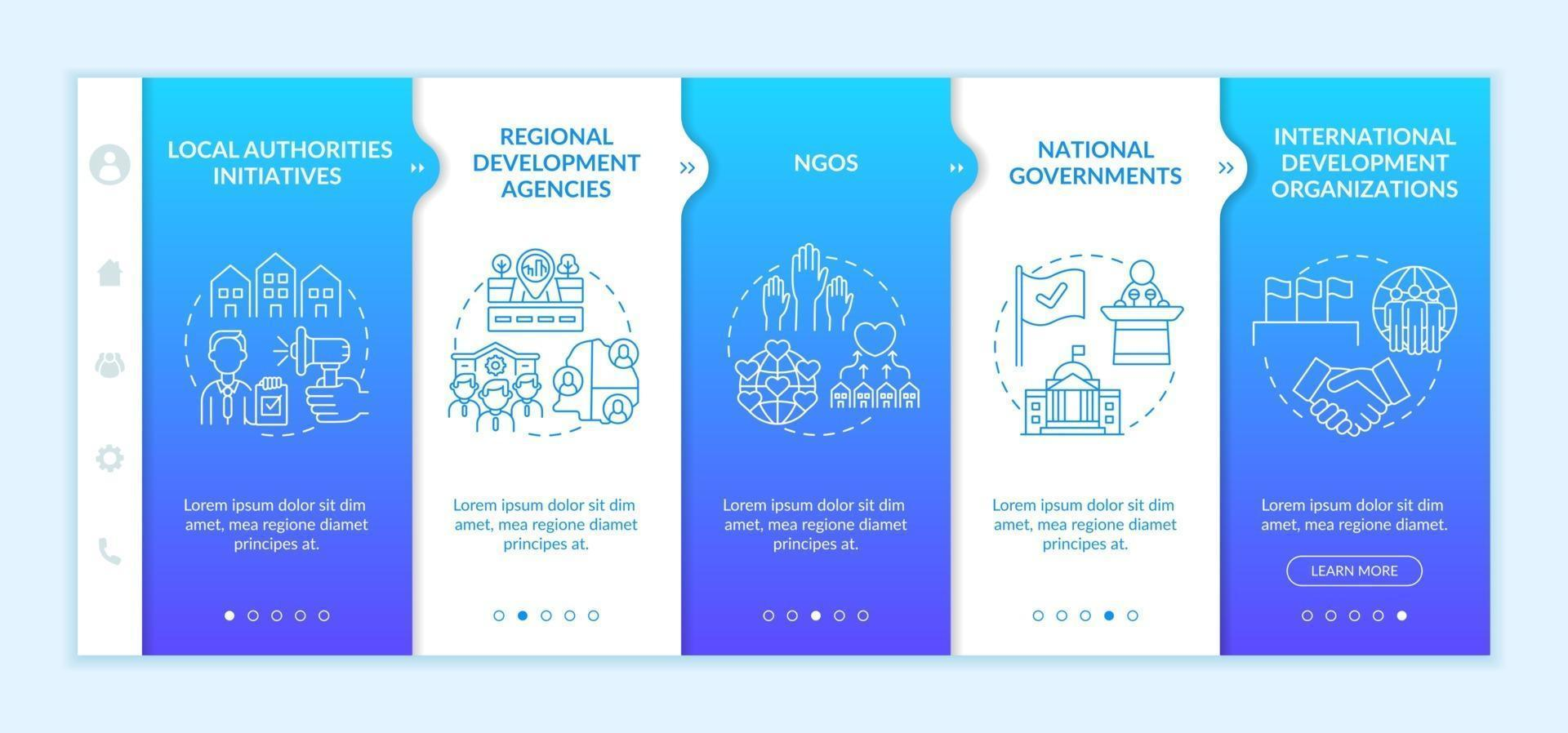 Social unit development programs levels onboarding vector template. Responsive mobile website with icons. Web page walkthrough 5 step screens. Regional agencies color concept with linear illustrations