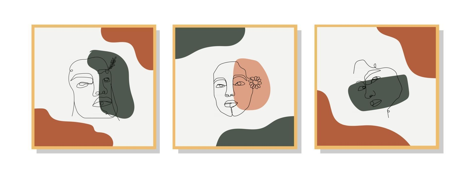 Collection of trendy contemporary abstract creative minimalistic face line art hand-painted compositions for wall decoration, postcard or brochure cover design in vintage style art. vector eps10