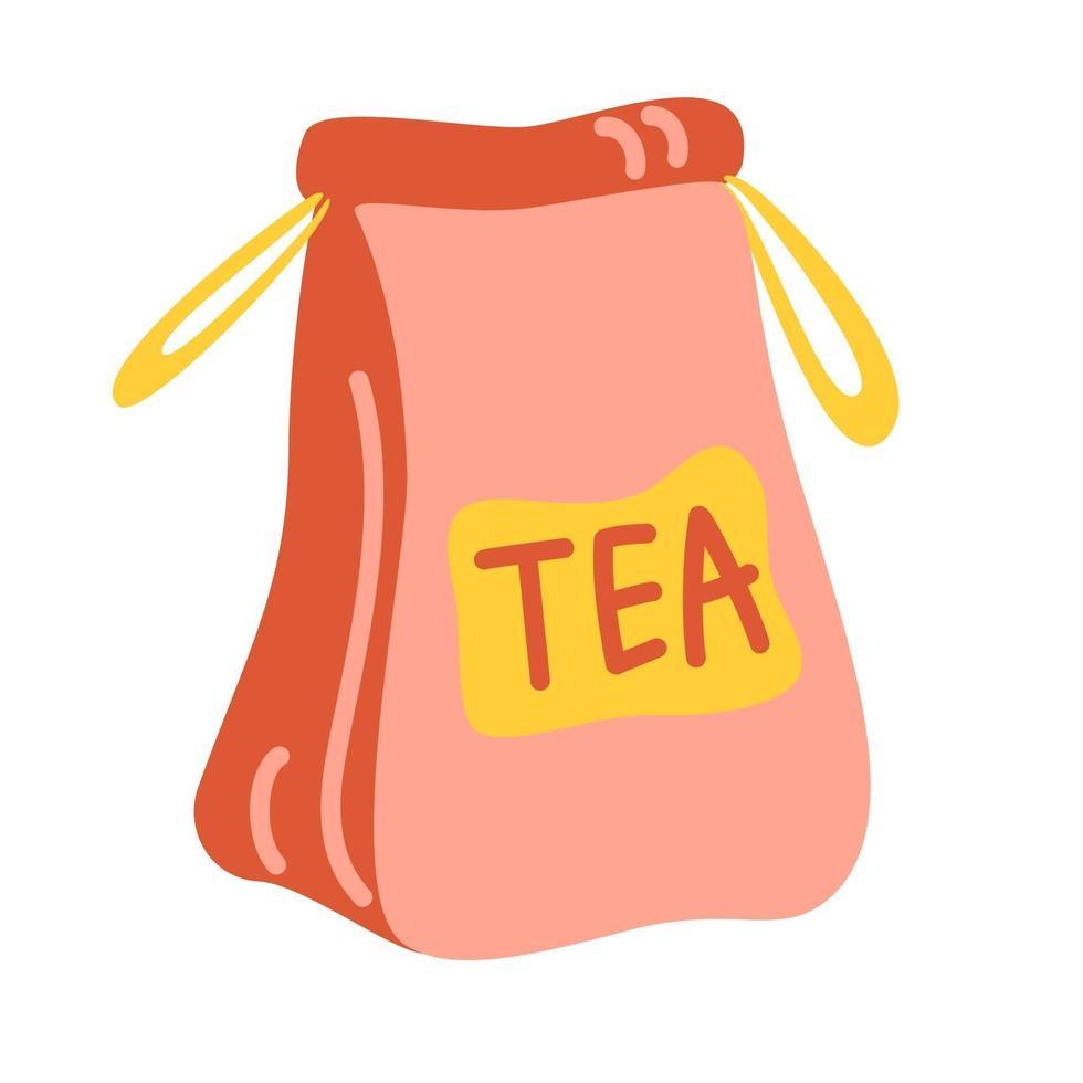 bolsa de papel artesanal con té. elemento para el diseño de la cocina de cafés y restaurantes. ilustración vectorial aislado en un fondo blanco. vector