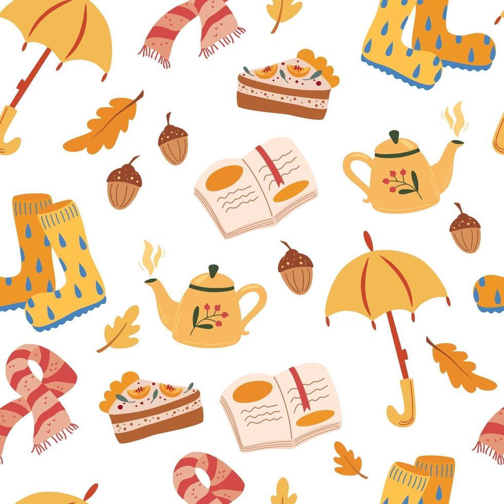 Autumn mood seamless pattern. Traditional autumn symbols decorative backdrop. Foliage, food, warm clothes illustration. Fall season attributes texture. Cozy Autumn. Vector illustration