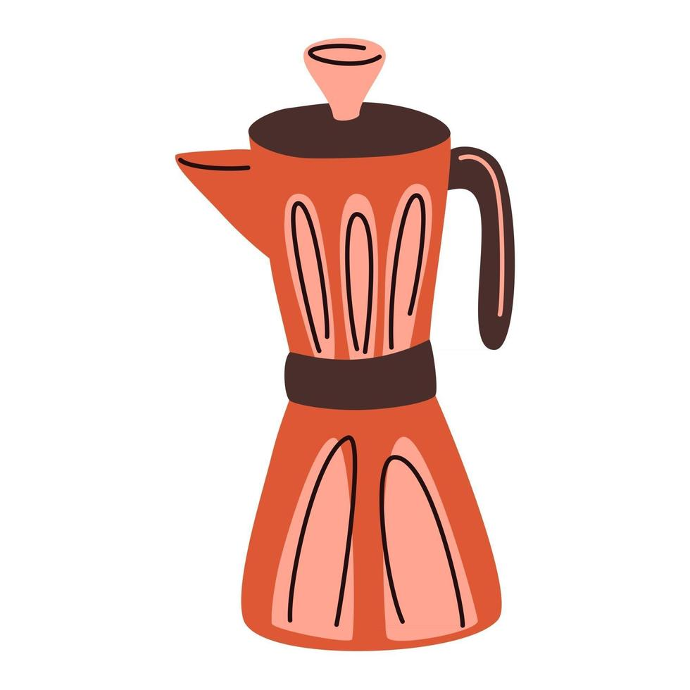 Geyser coffee maker. Coffee pot. Kitchen equipment. Traditional Italian style metallic coffee maker. Trendy vector illustration for web and print design.