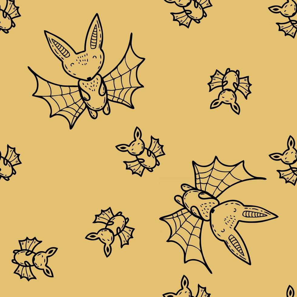 Cartoon style Halloween seamless pattern of big and small bat doodles vector