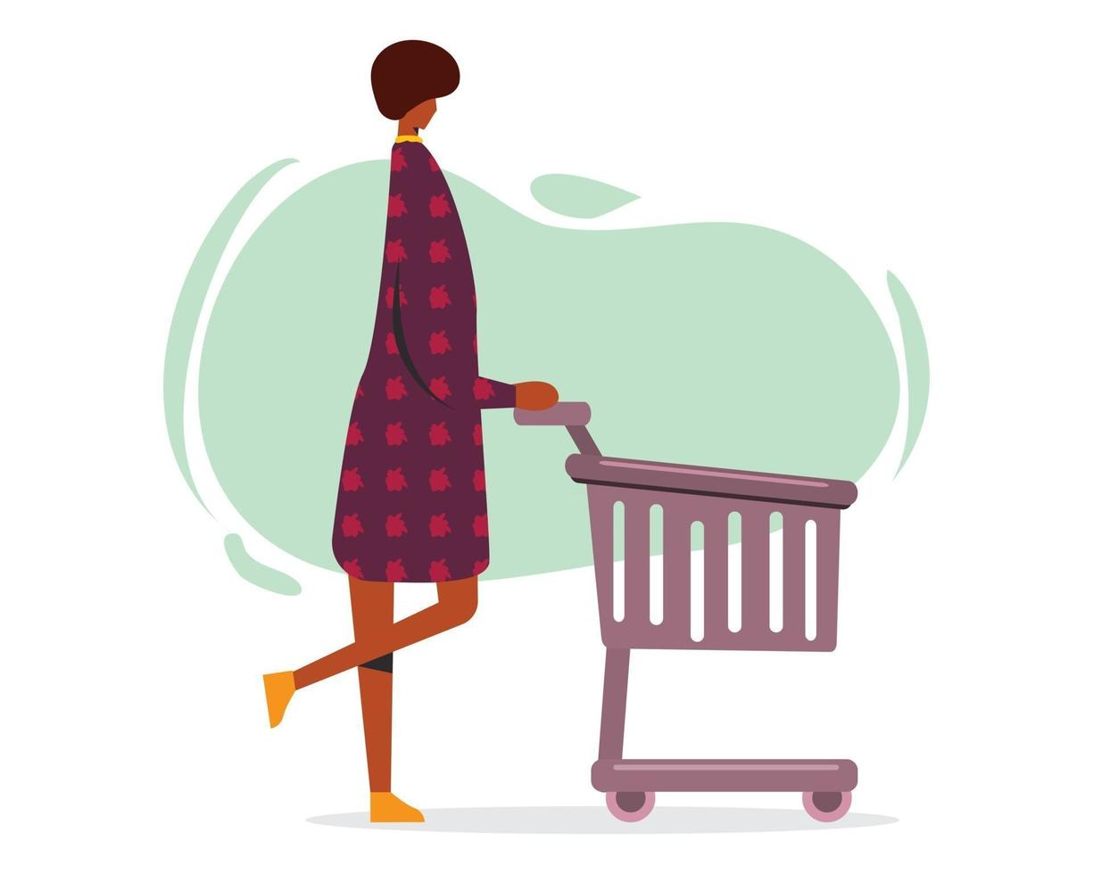 young woman with shopping cart illustration in flat style vector