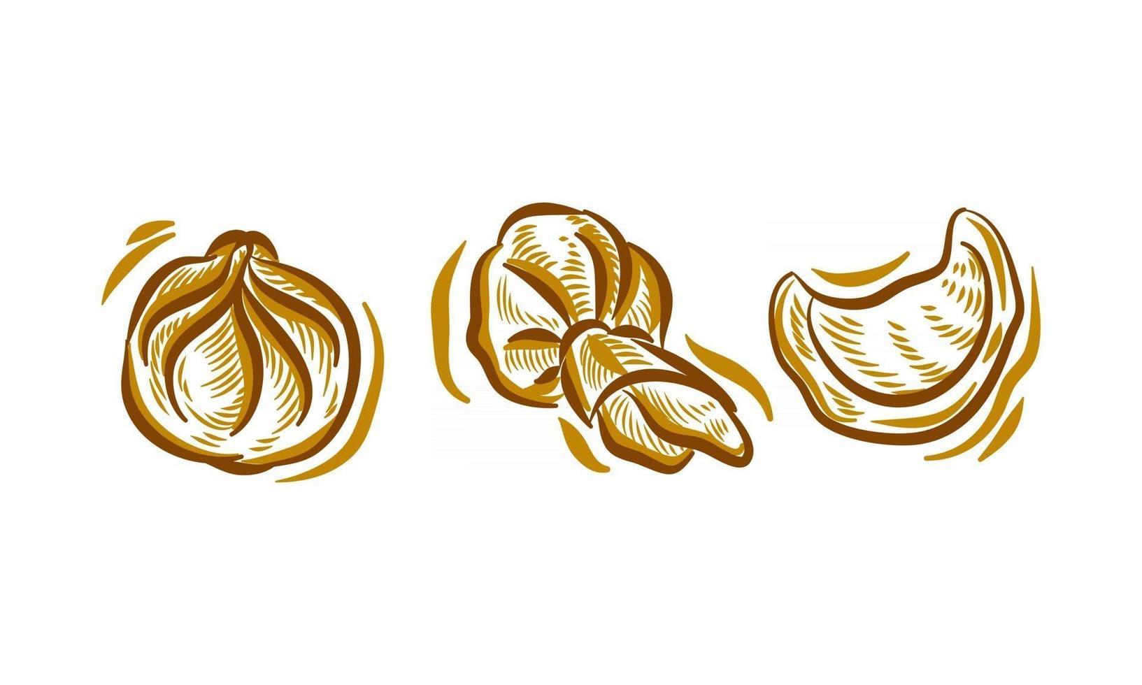 Set of Dim Sum Hand Drawing Illustration doodle for branding logo background element vector