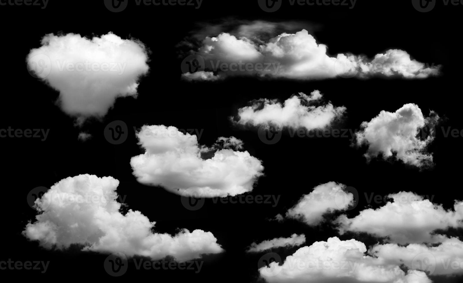Cloud isolated on black background photo