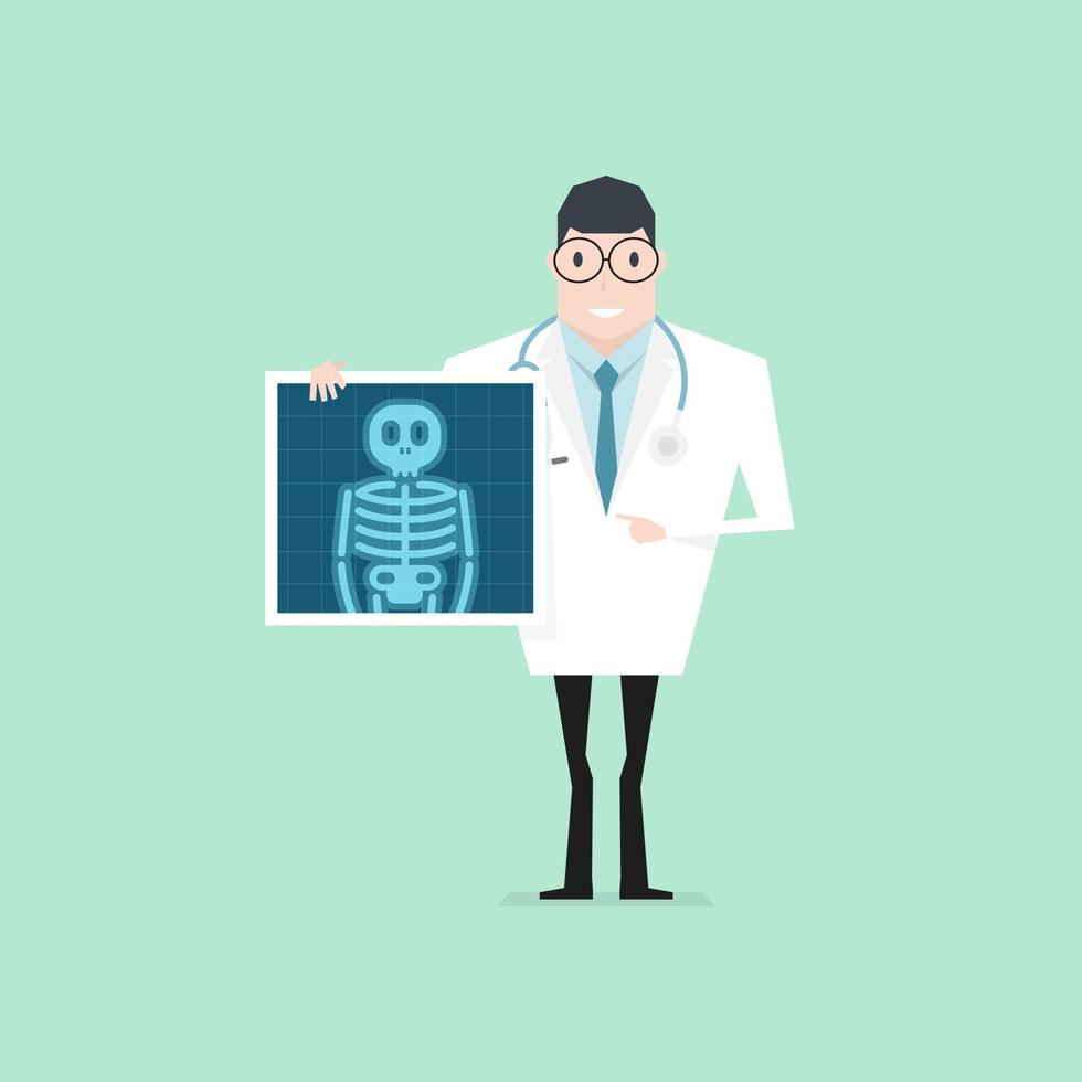 Doctor holding x-ray film. Health check up. vector