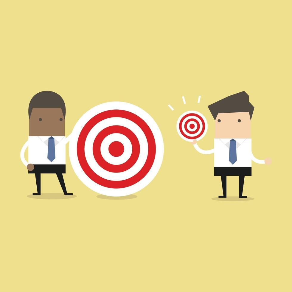 African businessman with different target big and small. vector