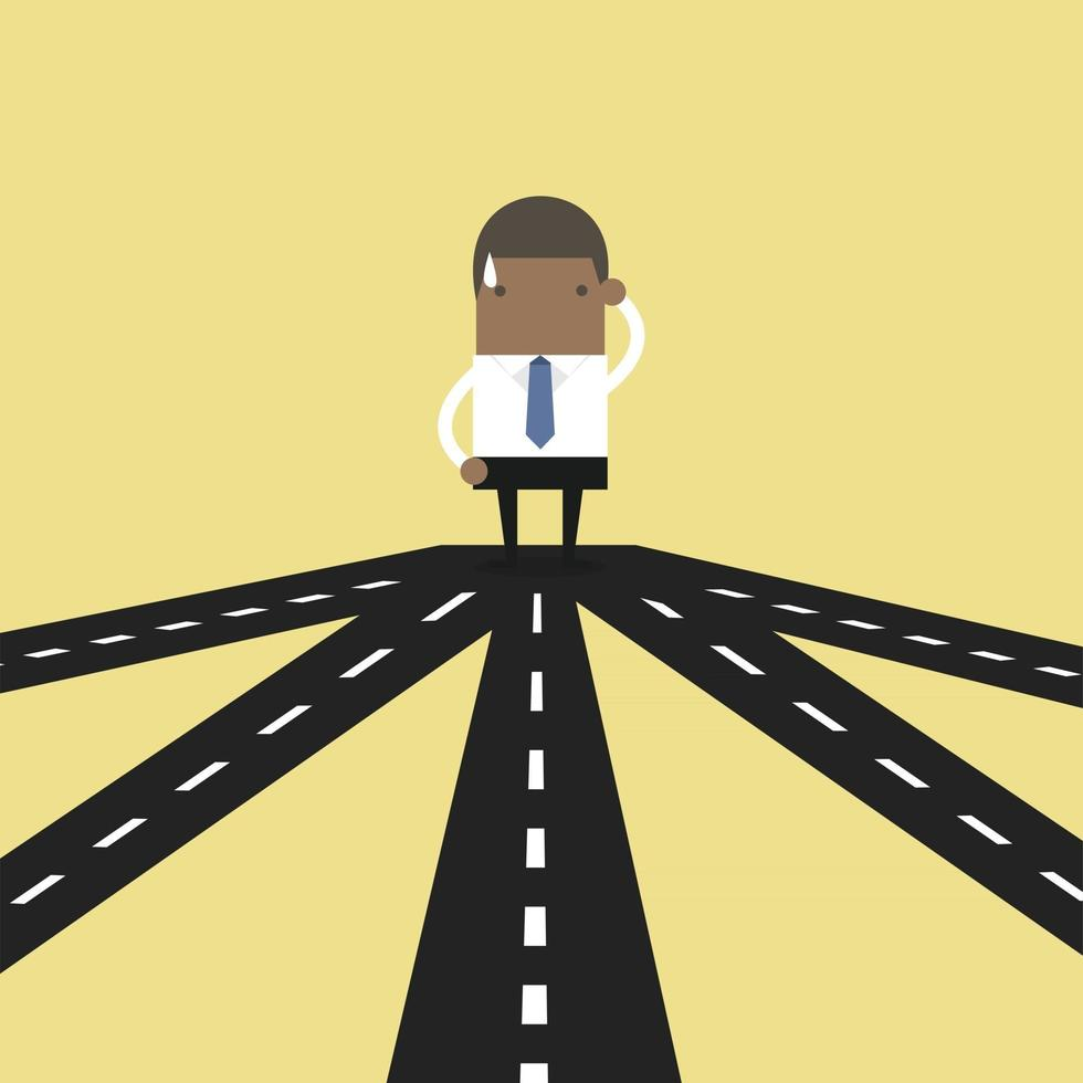 African businessman on crossroad choosing future direction to success or business strategy. vector