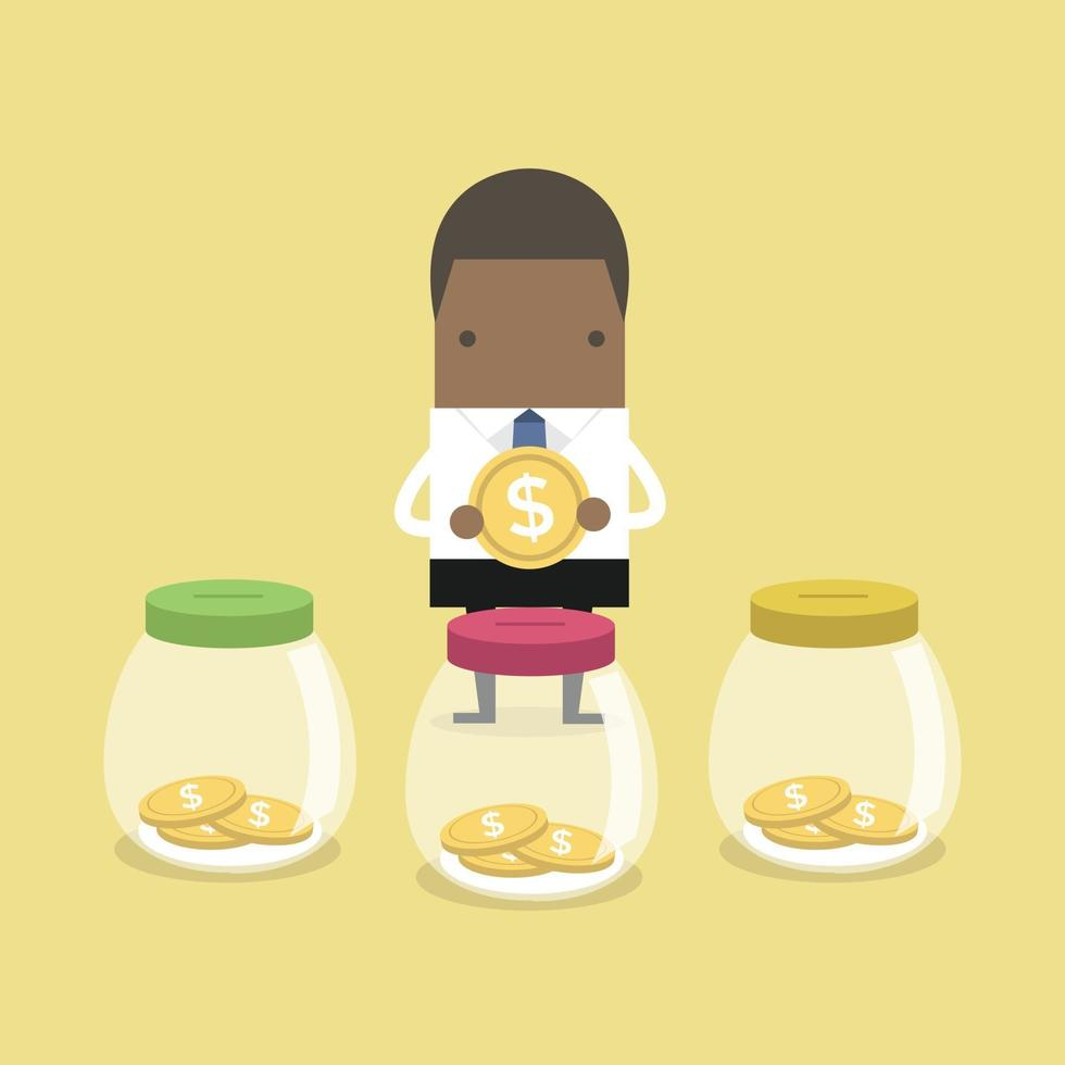 African businessman putting coin into jar. vector