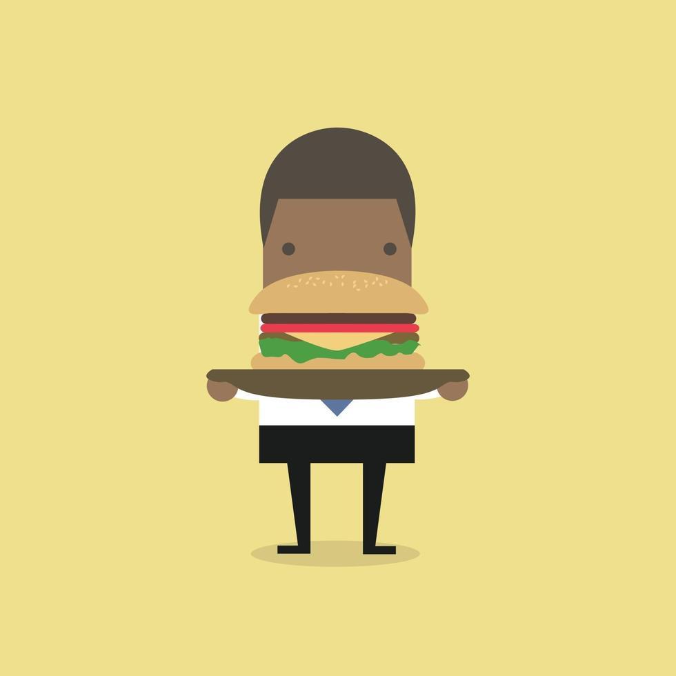 African businessman carrying a big hamburger. vector