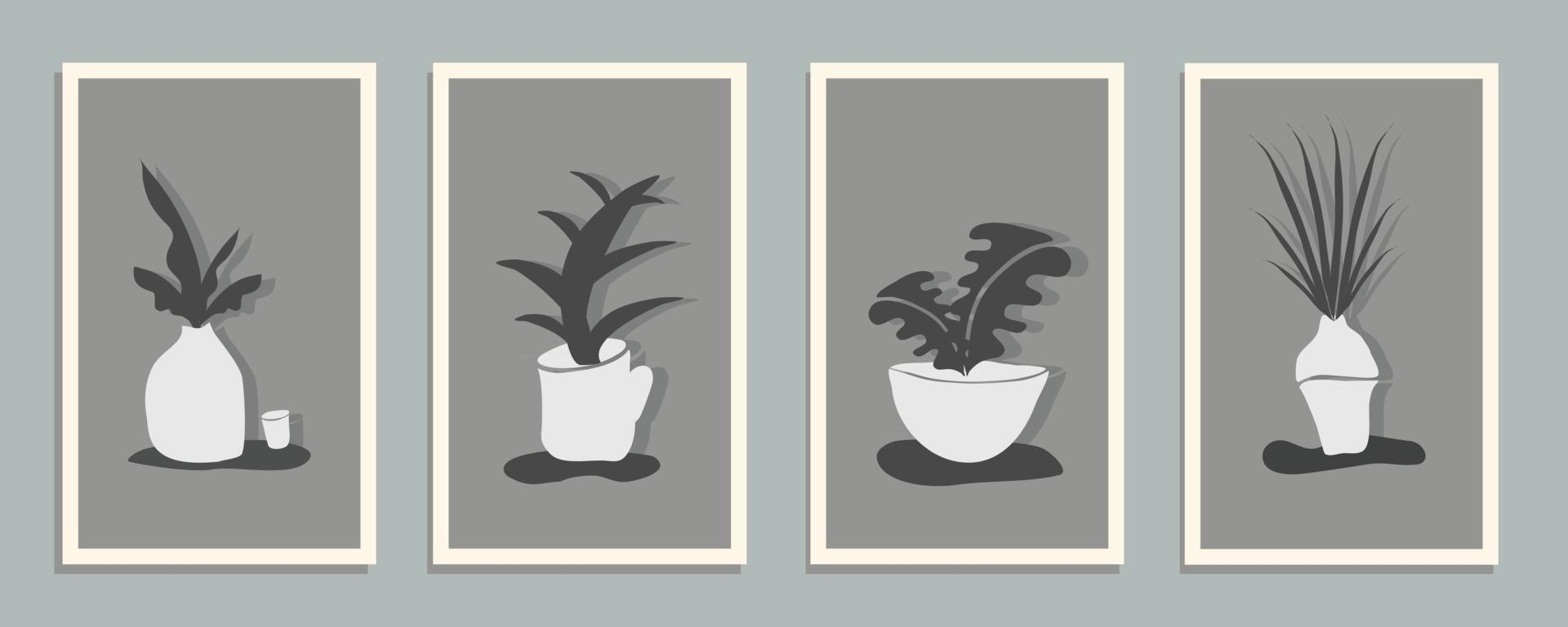 Set of Abstract still life in monochrome colors posters. Collection of contemporary art. Abstract elements, leaves, plant, botanical, flower for social media, postcards, print. vector