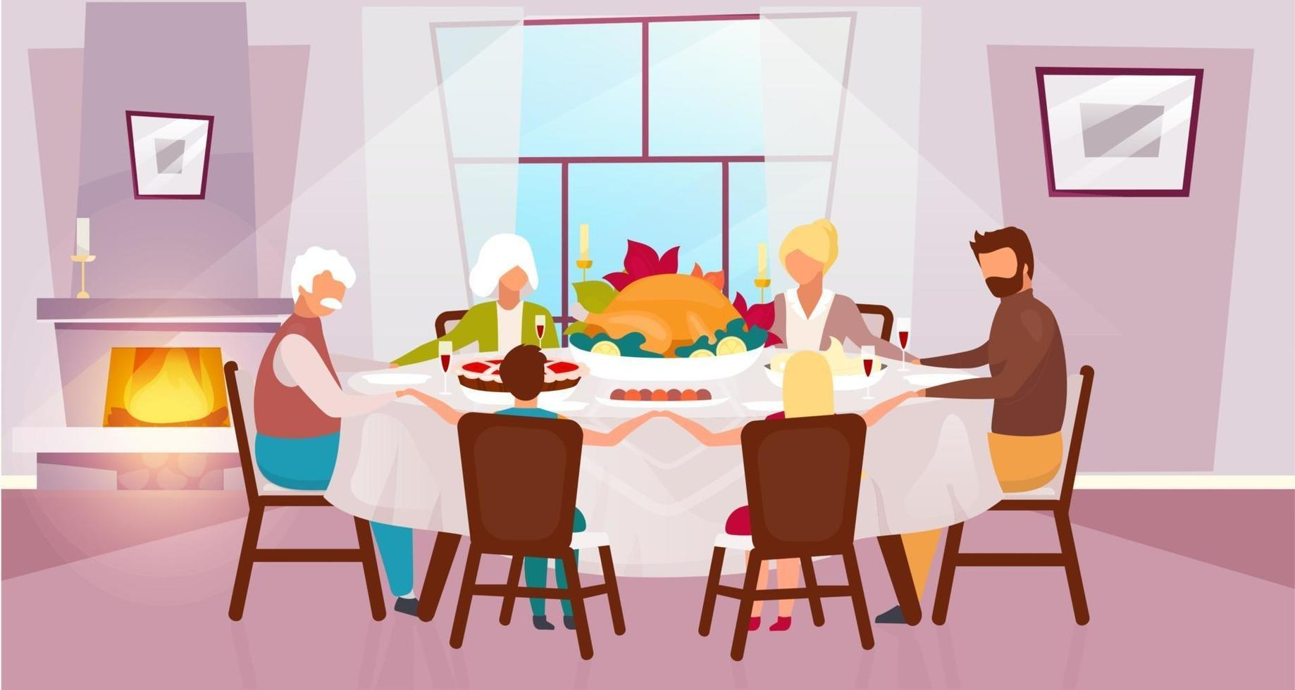Thanksgiving day flat vector illustration. Annual autumn holiday in United States. Grateful meal. Celebrating harvest together with grandparents. Family dinner with turkey cartoon characters