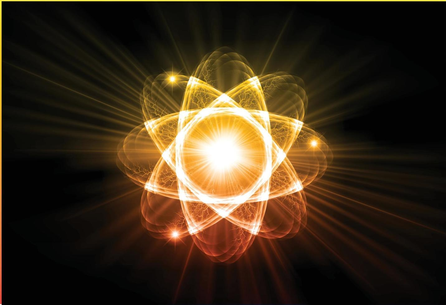 Blue Shining atom scheme. Vector illustration