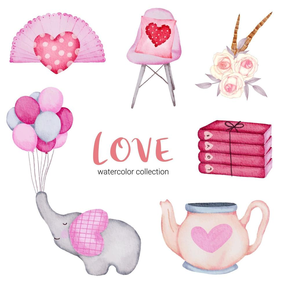 Set of big isolated watercolor valentine concept element lovely romantic red-pink hearts for decoration, Vector illustration.