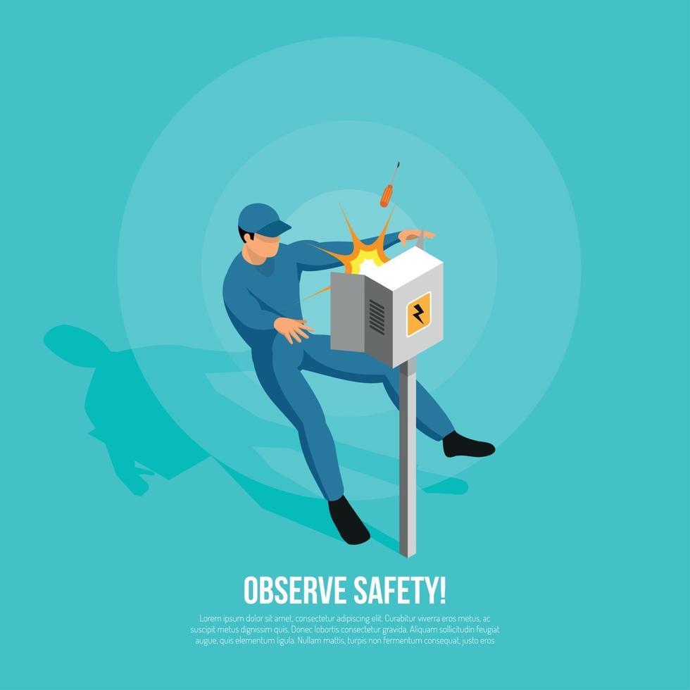 Observe Safety Isometric Background Vector Illustration