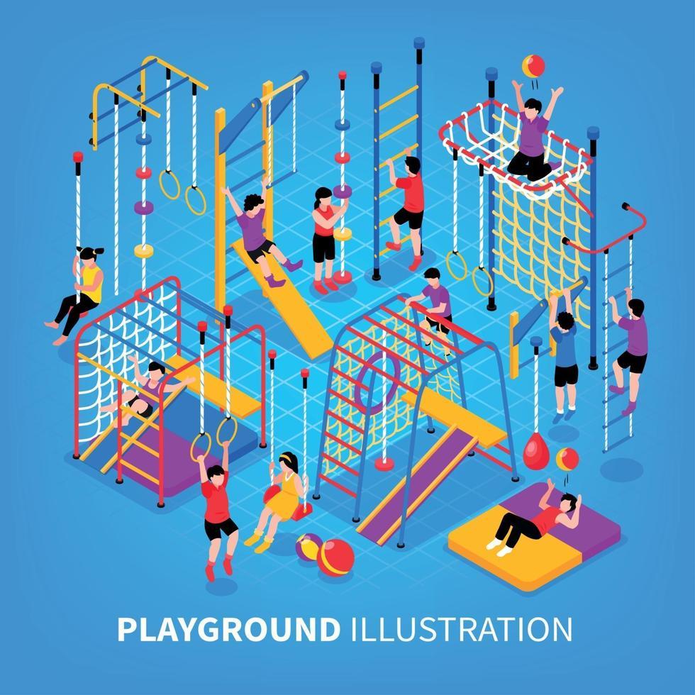 Children Playground Isometeric Background Vector Illustration