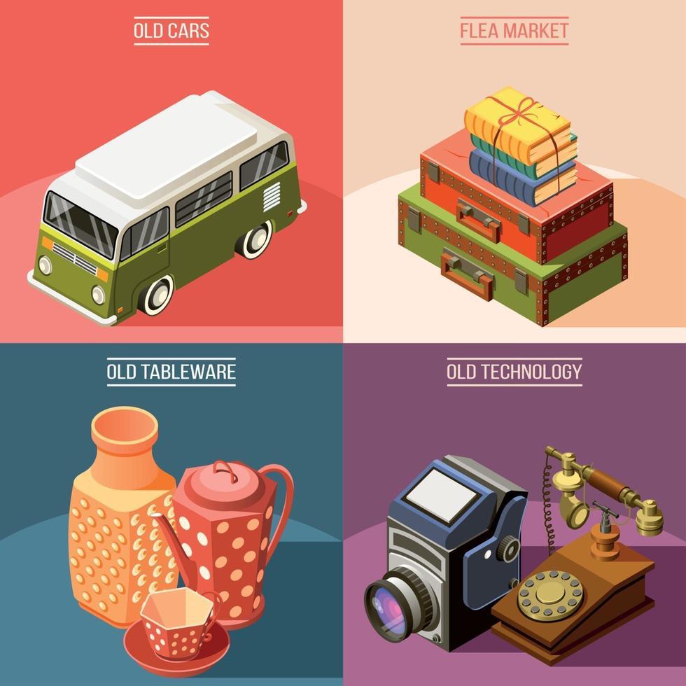 Flea Market 2x2 Design Concept Vector Illustration