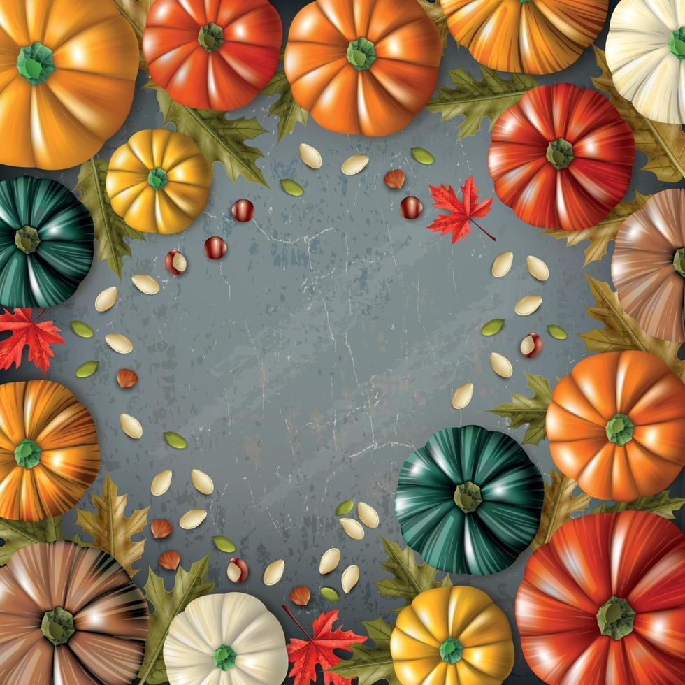 Colored Thanksgiving Day Composition Vector Illustration
