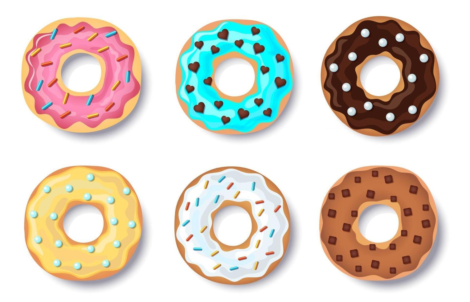 Donut vector set, collection of colorful doughnut cakes, with caramel and chocolate topping and colorful candy, isolated on white background with shadow