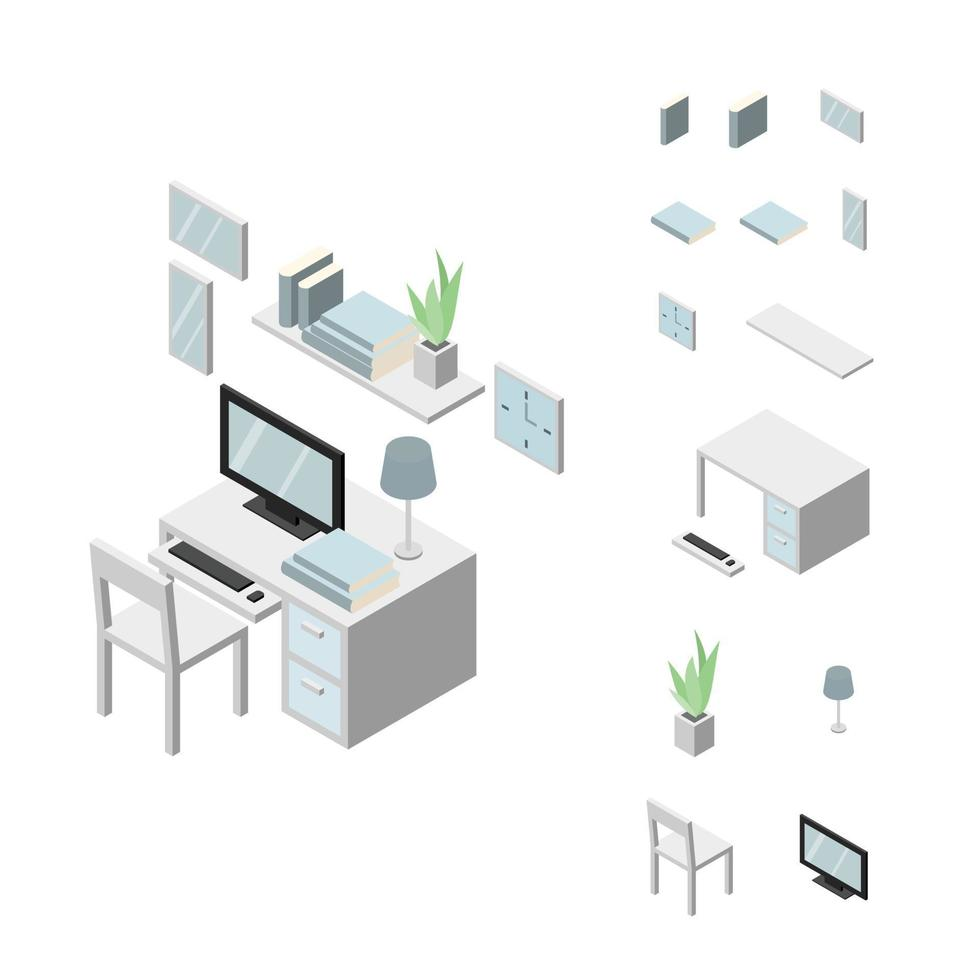 Set of Working table furniture. Chair, table, computer, keyboard, frame, books, shelf and plant. Isometric Drawing Vector. vector