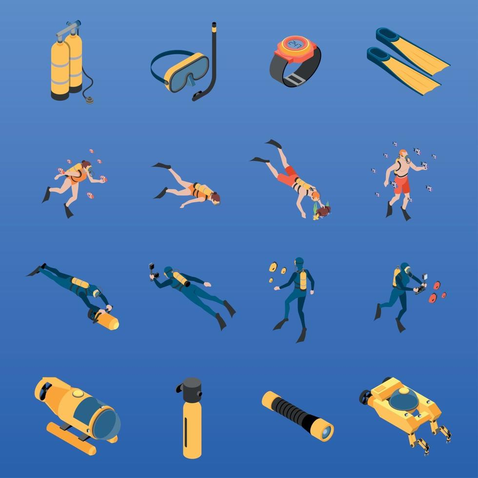 Diving Isometric Icons Set Vector Illustration