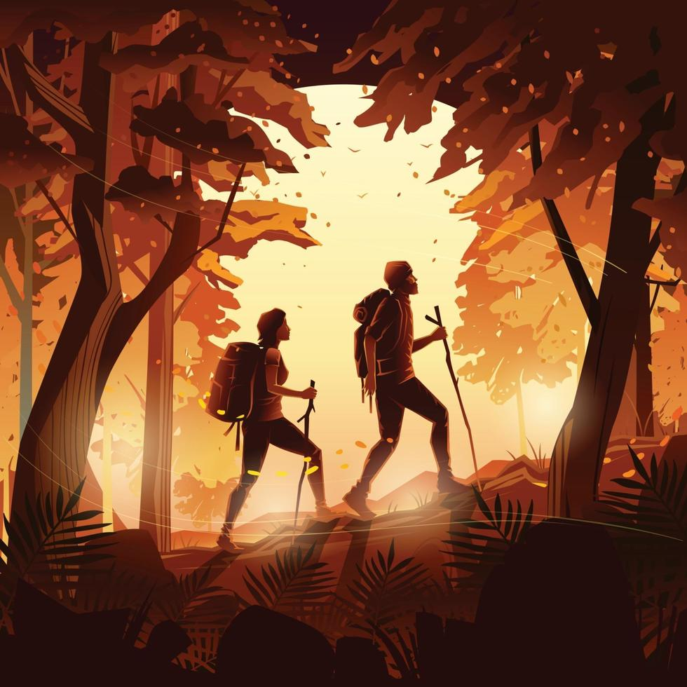 Autumn Hiking in The Sunset Forest Concept vector