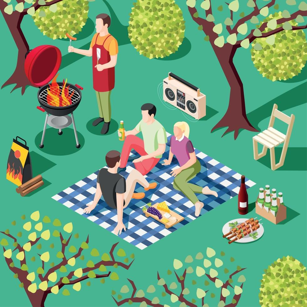 Outdoor BBQ Isometric Background Vector Illustration
