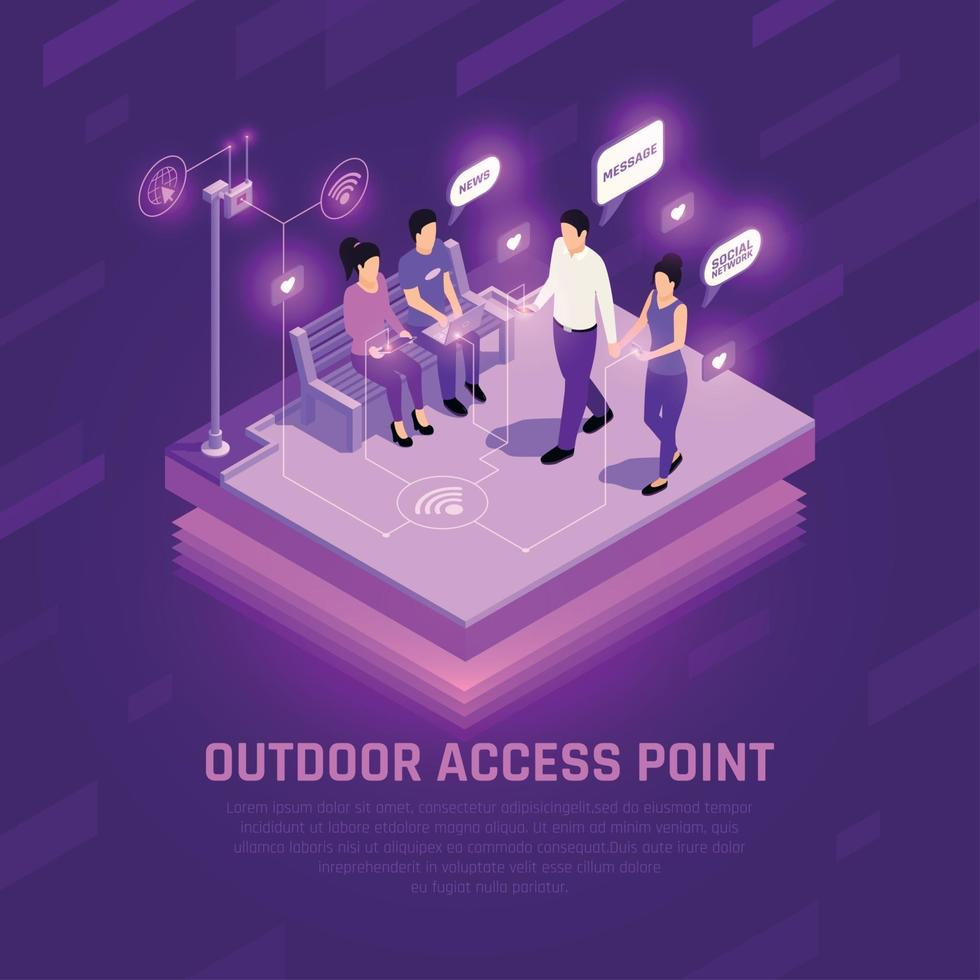 Internet Access Point Isometric Composition Vector Illustration